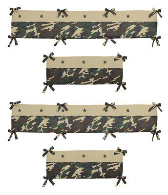 Military Army Green Brown And Tan Camouflage Baby Boy 4 Piece Crib Bumper Pad