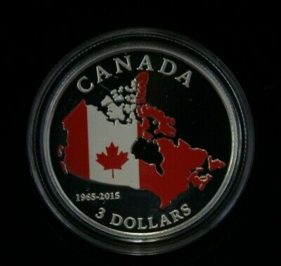 2015 $3 Fine Silver 50th Anniversary of the Canadian Flag