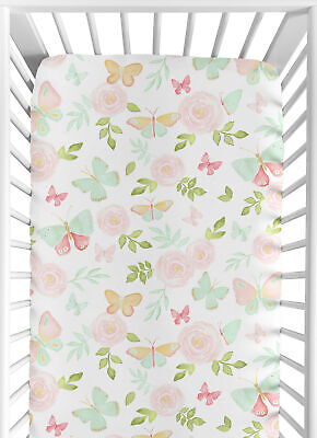 Butterfly Floral Watercolor Rose Blush Pink Mint Baby Toddler Fitted Crib Sheet
