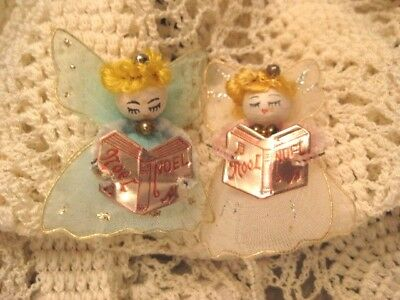 2 Vint Spun Cotton Angels Wire Tulle Wings +Gown Hand Painted Face Mercury Beads