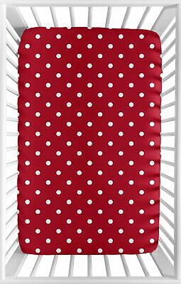 Red White Polka Dot Baby Fitted Mini Portable Crib Sheet for Ladybug Bedding