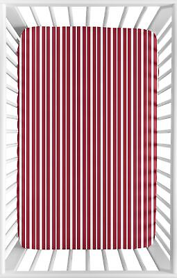 Red and White Stripe Baby Fitted Mini Portable Crib Sheet for Aviator Bedding