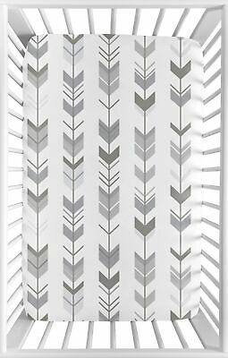 Grey White Mod Woodland Arrow Baby Fitted Mini Portable Crib Sheet by Sweet Jojo