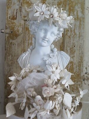 PARIS Antique WAX Wedding bouquet Tiara BRAUTKRONE Millinery flower Shabby