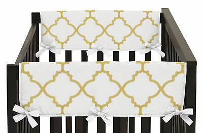 Gold White Trellis 2Pc Side Rail Guard Crib Cover Baby Teething Protector Wrap