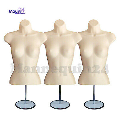 Lot Of 3 Mannequin Torsos +3 Metal Stands +3 Hangers Flesh Female Shirts Display