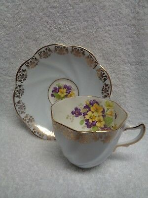Rosina Purple And Yellow Primroses Gold-Colored Edging Cup and Saucer