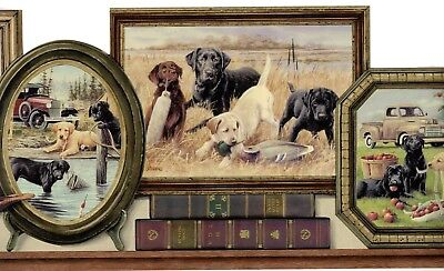 Vintage Picture Frame Country Labrador dog puppy Truck Die-cut Wallpaper Border