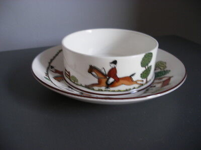 A Crown Staffordshire Hunting Scene Straight Sided Pot On Saucer   930K