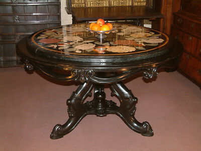 19th Century Italian Centre, dining table with Pietra Dura marble top.