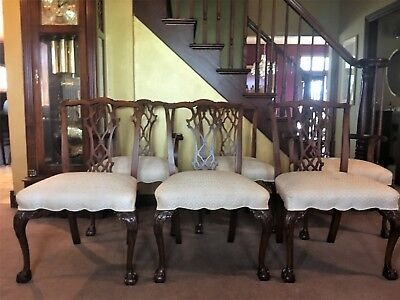 6 Vintage Solid Mahogany Chippendale Style Dining Chairs Ball and Claw Feet