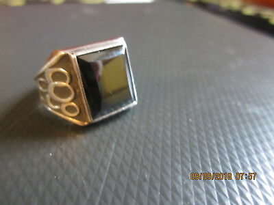 """old sterling silver MEN'S HEMATITE RING size 10 3/4    1/2"""" square stone"""