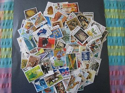 120 USED AUST.STAMPS. NEARLY ALL OFF PAPER & DIFFERENT. Lot L.