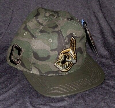 new concept 02379 c5a08 Cleveland Indians Mlb Pro Standard Green Camo Leather Brim Strapback Hat Cap  Nwt