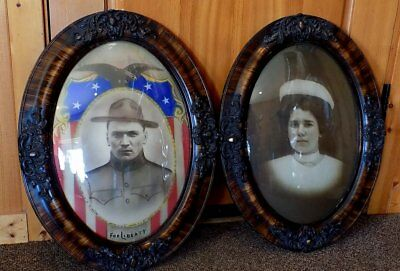 Pair of ANTIQUE WWI OVAL FRAMED Curved Glass SOLDIER & NURSE PORTRAITS