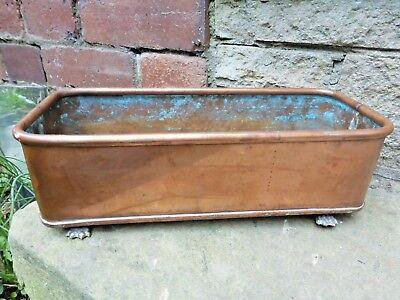 Vintage Copper Trough Tub Planter Brass Lion Loop Handles and Feet