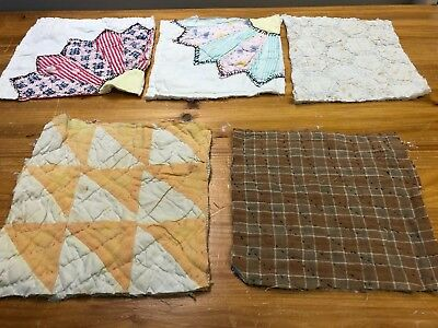 Primitive handmade OOAK vintage quilt pieces~squares, farmhouse, pillows, crafts