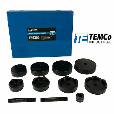 "TEMCo Industrial 2-1/2"", 3"", 3-1/2"", 4"" Conduit Punch and Die Set for Knockout"