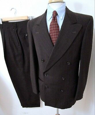 Vtg 1940s Double Breasted suit 38 R Brown Wool Gabardine striped rockabilly 50s