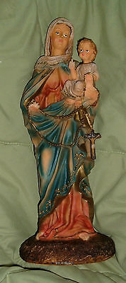 14 inch MADONNA w/JESUS & ROSARY NIB Resin Our Lady Child