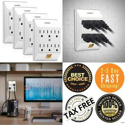Newest Female Multiple Plug Outlet 4 PACK, Wall Mount Surge Protector TAX FREE