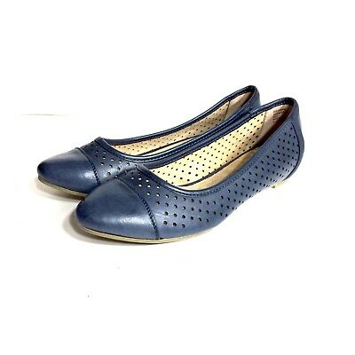 G.H. Bass Women's Blue Leather Ballet Flats Loafers Slip On Shoes Size 6 M #yg
