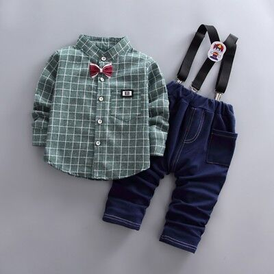 Toddler Kids Baby Boy Gentleman Outfits Clothes T-shirt Tops+Pants Trousers Sets