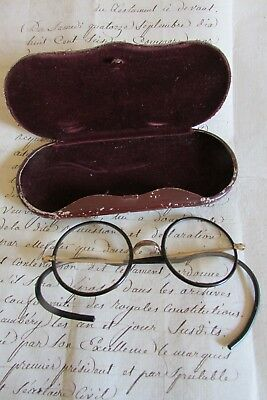 Antique French fabulous steampunk round glasses eyeglasses case c1920 30s