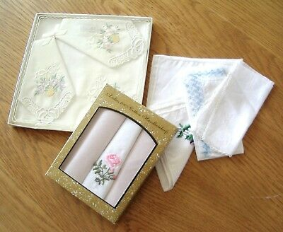 2 Boxes (Of 3) Ladies Vintage Cotton Handkerchiefs + 4 Others.