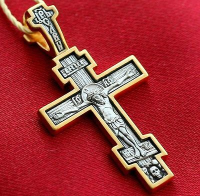 Russian Greek Orthodox Cross Silver 925+999 Gold.save And Protect Me Prayer. New