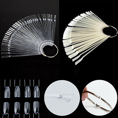 50 Display Nail Art Key Ring Wheel Fan Polish Practice Color Pop Tip Sticks