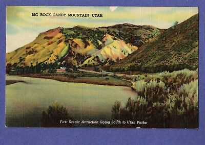 BIG ROCK CANDY MOUNTAIN 1st Scenic Attraction to Utah Parks Linen Postcard
