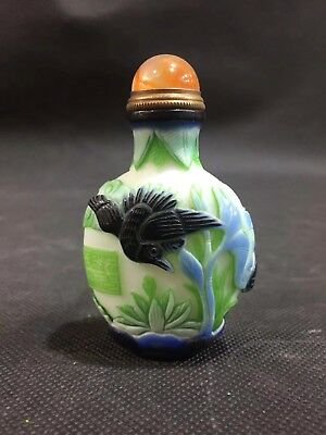 Chinese Antique coloured glaze Hand carved bird snuff bottle