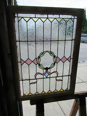~ ANTIQUE AMERICAN STAINED GLASS WINDOW ~ 27.75 x 37.75 ~ ARCHITECTURAL SALVAGE