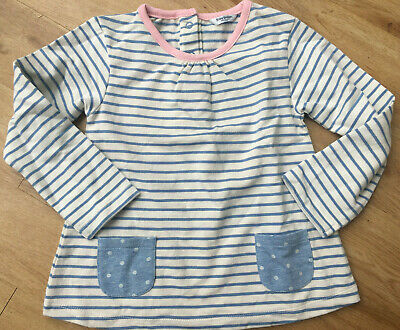 Mini Boden girls soft jersey stripe top pink blue baby age 2-3