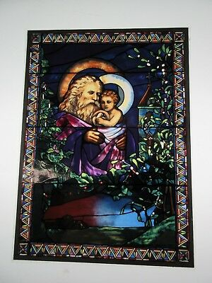 """Glassmasters: W.C. Tiffany's """"Father Christmas and the Christ Child"""" 7.5x5.5in."""