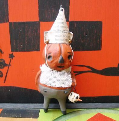 Bethany Lowe Halloween Frowny Face Pumpkin Ornament New