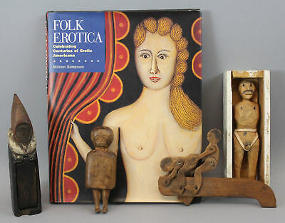 4 Examples Folk Art Carved & Painted, Erotica Action Surprise, Wood Figures, NR