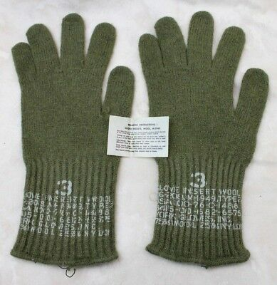 Nos Vintage Us Army Issue M1949 Wool Od Green Liner Gloves Sz 4 Large