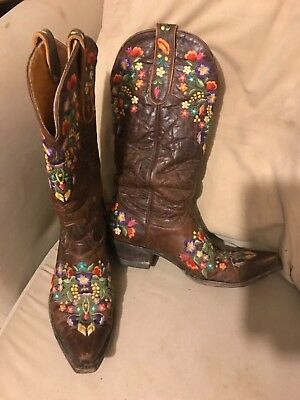 c08ad19df13 OLD GRINGO SORA womens boots floral cowgirl boho embroidered embroidery 7.5