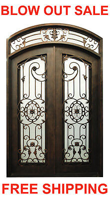 127D Double Front Entry Wroght Iron Door with Operable Glass 62 x 96