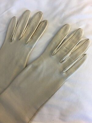 "Vintage Long White Leather Gloves Elbow Length 15"" Size 6"