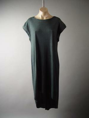 Charcoal Dark Gray Minimalist Basic Casual Tee Long Maxi T-Shirt 286 mv Dress L
