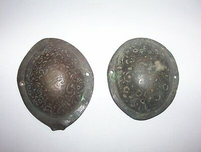 2  Large  Late Medieval / Post Medieval Decorated Bronze Mounts  Horse Fittings