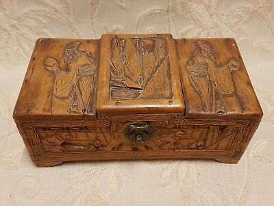 Large Antique Engraved Wooden Jewellery Box From Ship 'SS Corfu', Japan - 1938