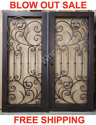 126D Double Front Entry Wroght Iron Door with Vent Glass Panel 74 x 81