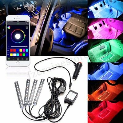 4x9 LED Strip APP Phone Car Interior RGB Light Floor Decor Lámpara Control de mú
