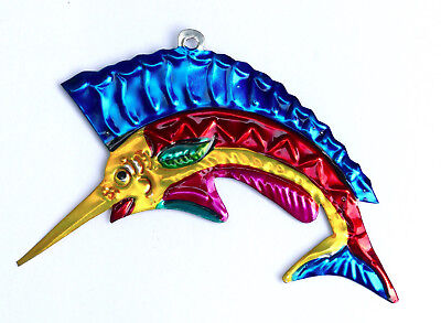 Hand-Punched Tin Ornament | Swordfish Marlin | Colorful Mexican Folk Art Mexico