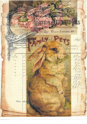 Easter Rabbit French Ledger Collage *tuck Book Cover*quilt Art Fabric Block