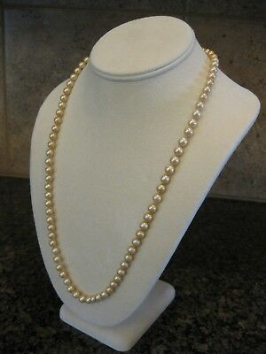 41327ba483fda VINTAGE VENDOME GLASS Pearl Necklace, Individually Knotted, Rhinestone Clasp
